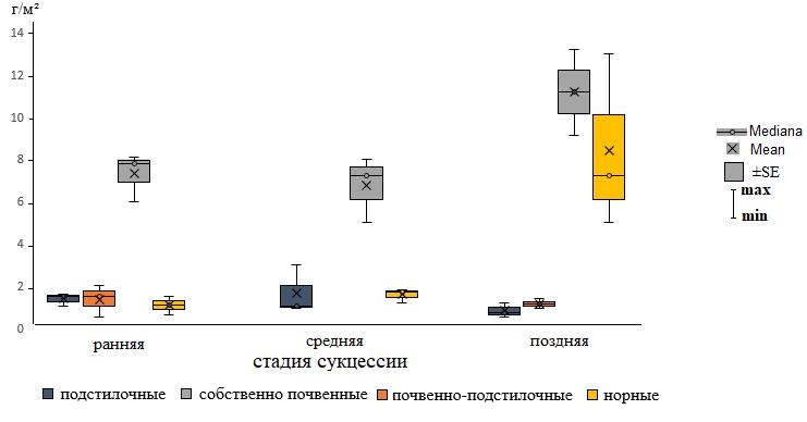 Динамика биомассы морфо-экологических групп дождевых червей на разных стадиях сукцессии хвойно-широколиственного леса