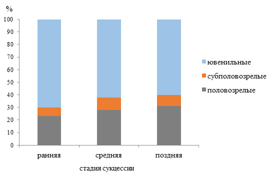 Доля по численности дождевых червей разных онтогенетических состояний на трех стадиях сукцессии хвойно-широколиственного леса