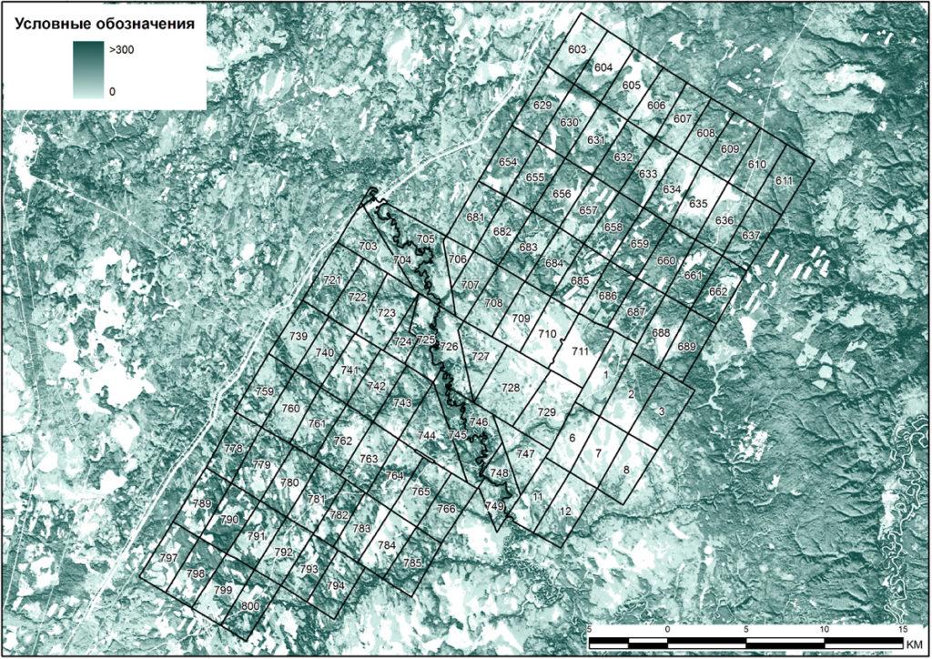 Карта запасов стволовой древесины, м3/га