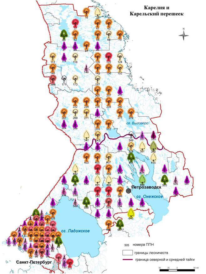 Расположение постоянных пунктов наблюдений (ППН) на территории Карелии и Карельского перешейка