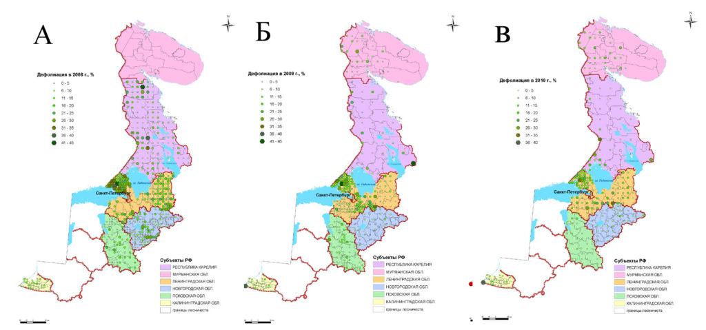 Средние значения дефолиации крон преобладающих пород деревьев на ППН: А – 2008 г., Б – 2009 г., В – 2010 г.