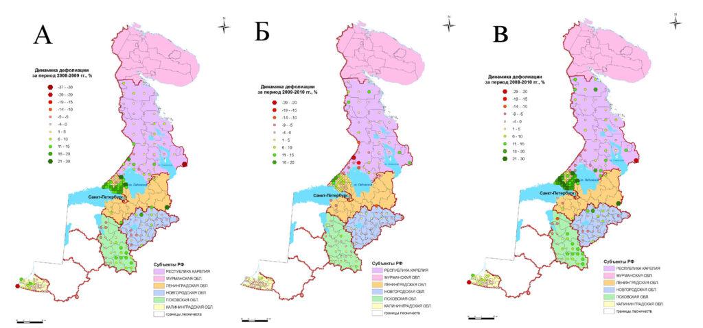 Динамика средних значений дефолиации крон преобладающих пород деревьев на ППН: А – 2008-2009 гг., Б – 2009-2010 гг.,B–2018-2010 гг.
