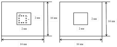 Фотопробы с кластером полевых пробных площадей (слева) и без (справа). Пробные площади предназначены для оценки точности дешифрирования фотопроб