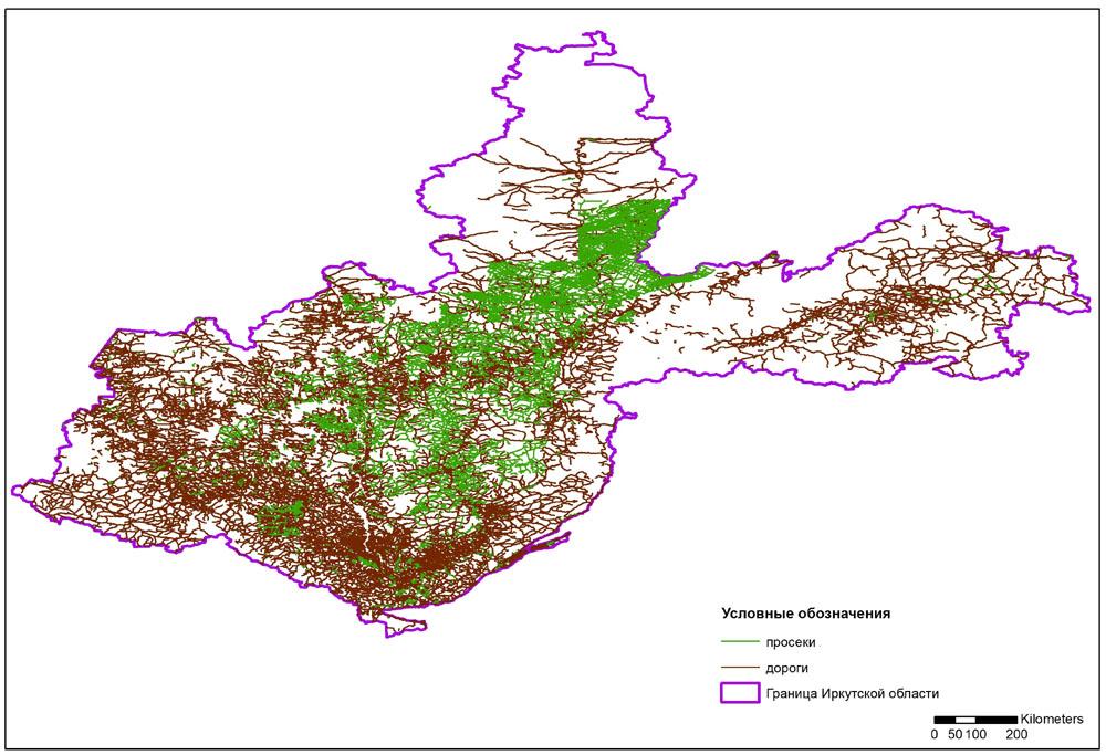 Отображение данных о дорогах и просеках на территории Иркутской области