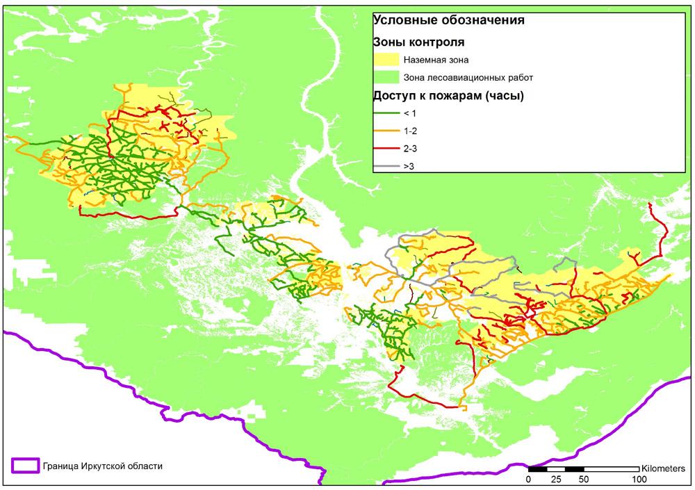 Карта маршрутов до лесных пожаров (2002-2017 гг.) в зоне наземной охраны, классифицированных цветом по времени движения
