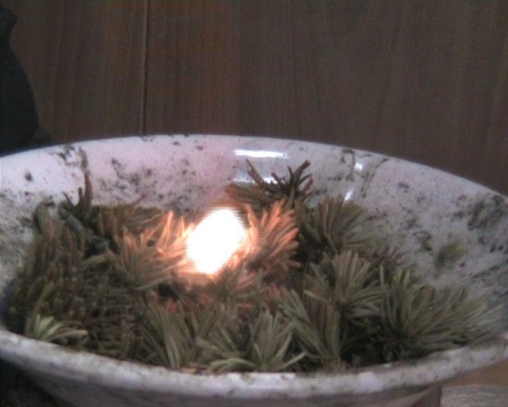 Характерные кадры видеосъемки процесса зажигания ЛГМ нагретой до высоких температур частицей в различные моменты времени: а) t=0.08 с – инертный прогрев слоя ЛГМ; б) t=0.24 с – появление микрофакела пламени