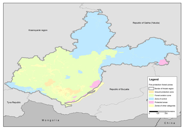 Fire protection forest zones in the Irkutsk region