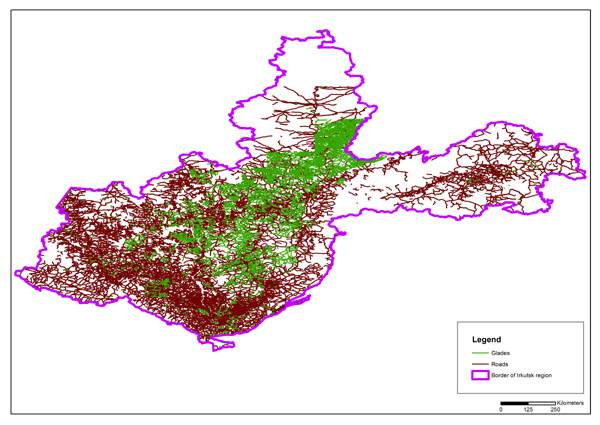 Data on roads and glades in the Irkutsk region