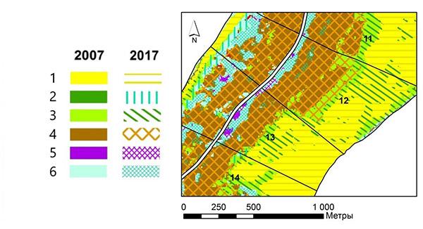 Фрагмент карты разновременного состояния растительности на территорию 12 и 13 кварталов Зеленоградского лесничества. Классы: 1 – песчаные дюны, пляж, 2 – луговая растительность, 3 – псаммофильная растительность, 4 – сосновые леса, 5 – черноольховые леса, 6 – березовые леса