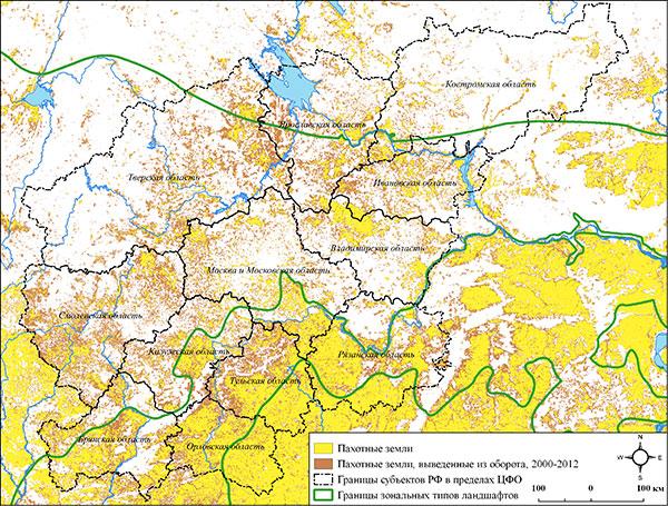 Распределение пахотных земель и земель, выведенных из сельскохозяйственного оборота, по регионам Центрального Нечерноземья. Составлено по данным (Lesiv et al., 2018)