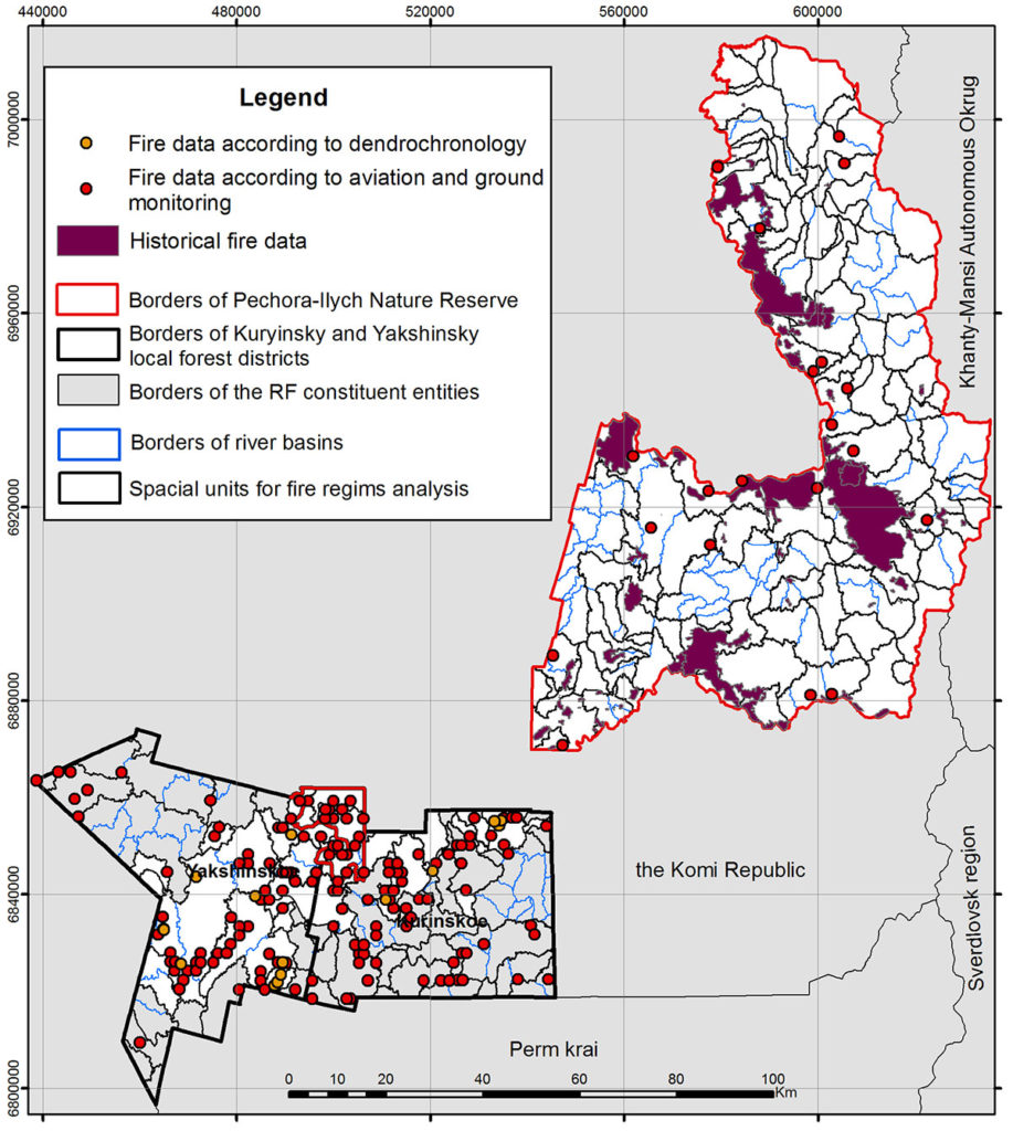 Fire history data and boundaries of spatial units for mapping fire regimes in the study area